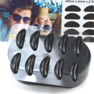 GMS Optical Contour Silicone Nose Pads 18mm x 2.5mm Black in Person's Hand