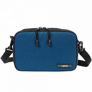 Blue Chillmed Elite Bag facing forward. Zippers are visible with the strap on either side.