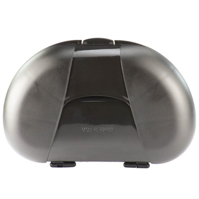 Black Vita Carry Large Medication Case Opened and Filled Empty Back Facing Closed
