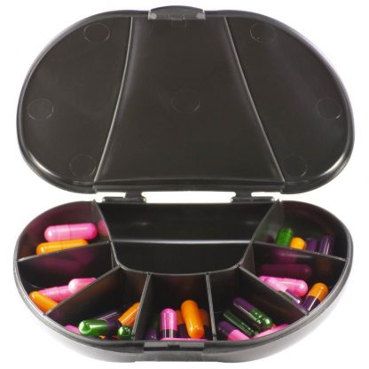 Black Vita Carry Large Medication Case Opened and Filled Empty Front Facing Open and Filled with Pills