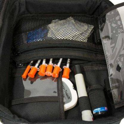 Blue ChillMED Premier Diabetic Travel Bag Right Side Filled with Insulin Pens
