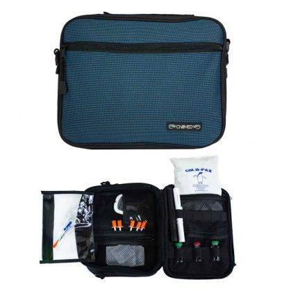 Blue ChillMED Premier Diabetic Travel Bag Front Facing and Exploded View