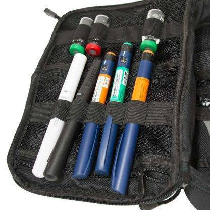 Blue ChillMED Premier Diabetic Travel Bag Left Side Filled with Insulin Pens