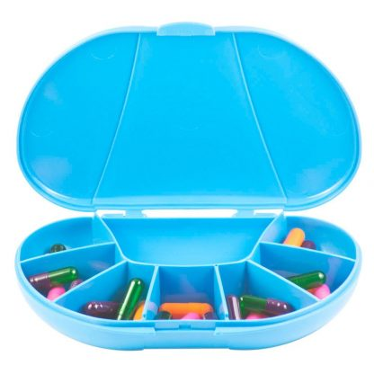 Blue Vita Carry Large Medication Case Opened and Filled Empty Front Facing Open and Filled with Pills