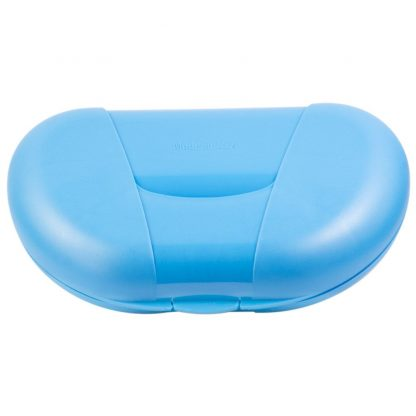 Blue Vita Carry Large Medication Case Opened and Filled Empty Back Facing Closed