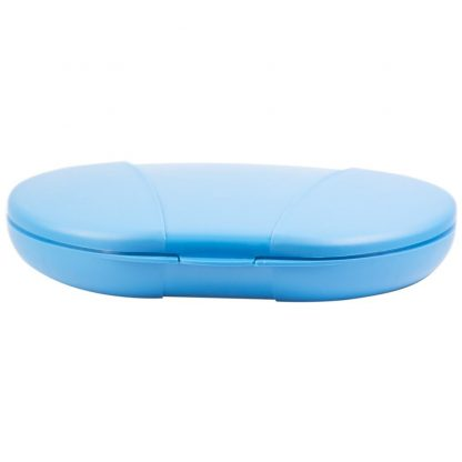 Blue Vita Carry Large Medication Case Opened and Filled Empty Front Facing Flat