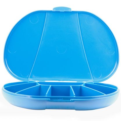 Blue Vita Carry Large Medication Case Opened and Filled Empty Front Facing Open and Empty