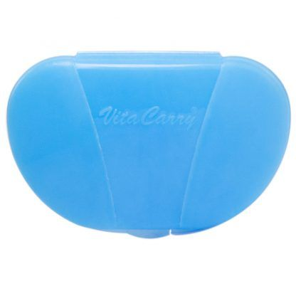 Pastel Blue Vita Carry Pocket Clamshell Case Closed front facing