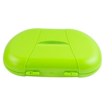 Green Vita Carry Large Medication Case Opened and Filled Empty Back Facing