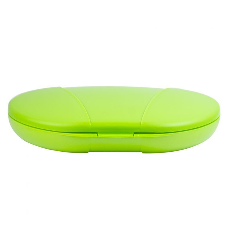 Green Vita Carry Large Medication Case Opened and Filled Empty Front Facing Closed and Flat