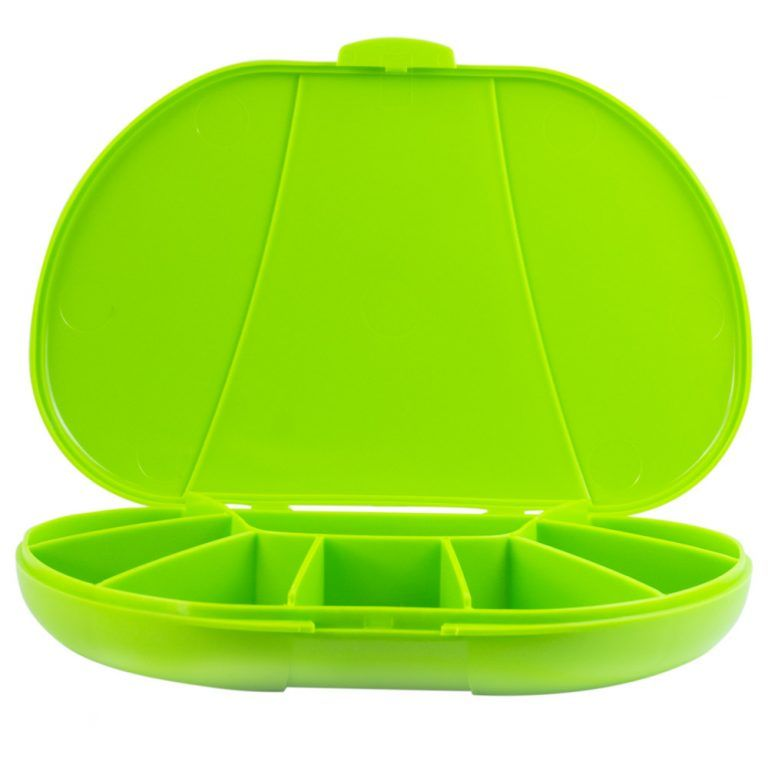Green Vita Carry Large Medication Case Opened and Filled Empty Front Facing Open and Empty