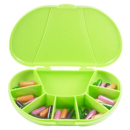 Green Vita Carry Large Medication Case Opened and Filled Empty Front Facing Open with Pills