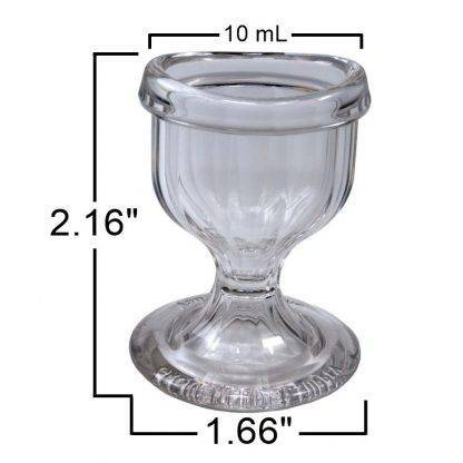 Plastic Eye Wash Cup Front View measurements 2.16 inches by 1.66 inches. 10ml capacity
