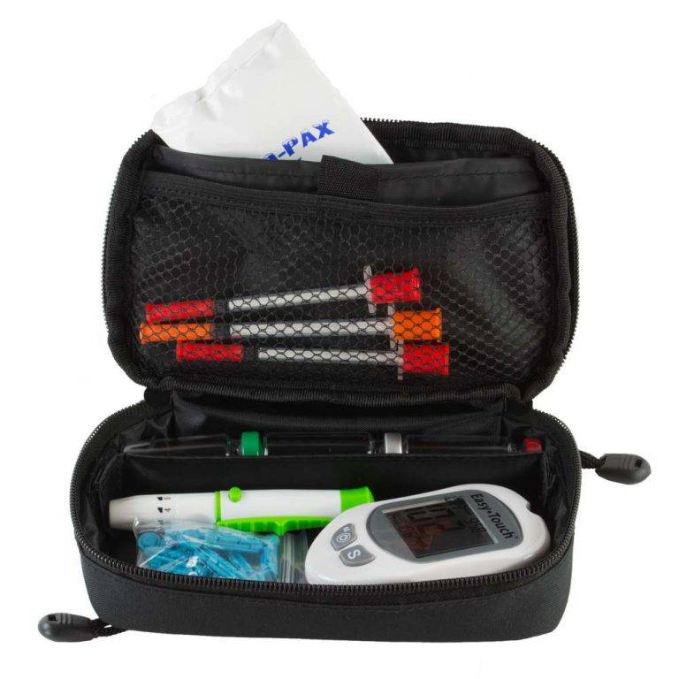 Red GMS To-Go Front View filled with Diabetic Supplies
