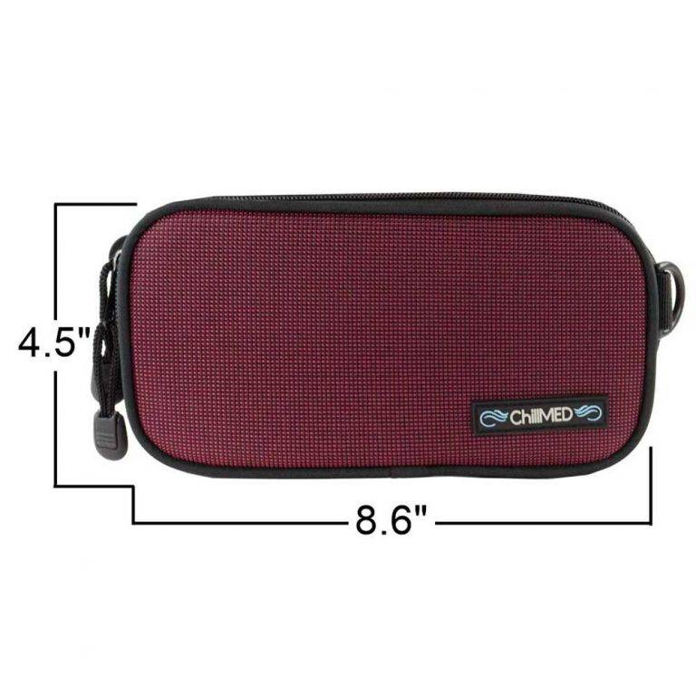 Red ChillMED Carry-All Diabetic Bag with Measurements
