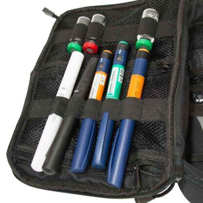 Red ChillMED Premier Diabetic Travel Bag Left Side Filled with Insulin Pens