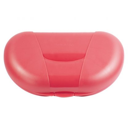 Red Vita Carry Large Medication Case Opened and Filled Empty Back Facing Closed