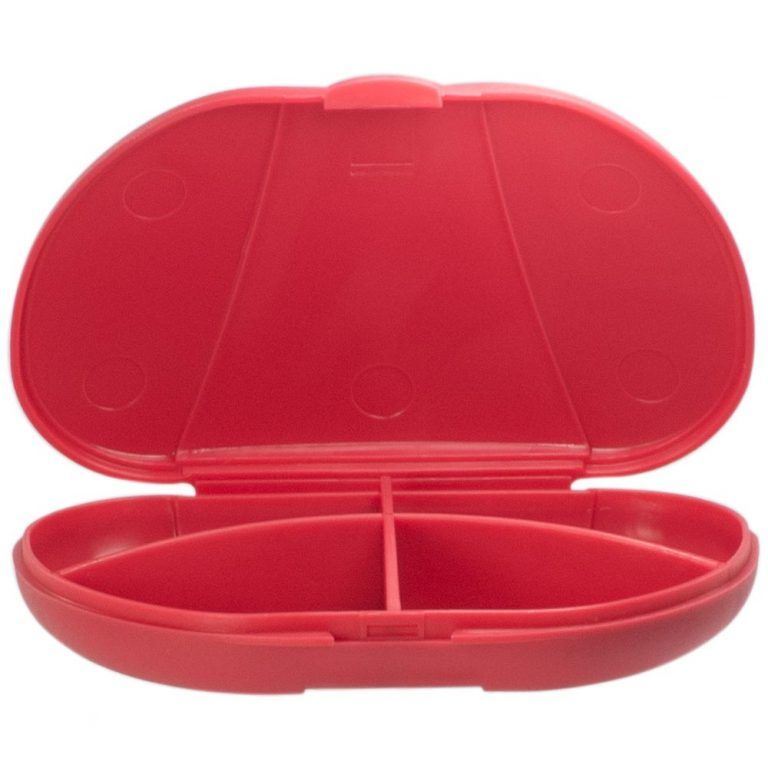 Red Vita Carry Pocket Clamshell Case Open and Empty