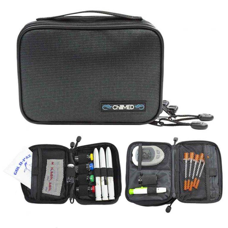Slate Chillmed 2: One closed above two opened. Each opened Chillmed Elite 2 have diabetic supplies in each of the compartments.