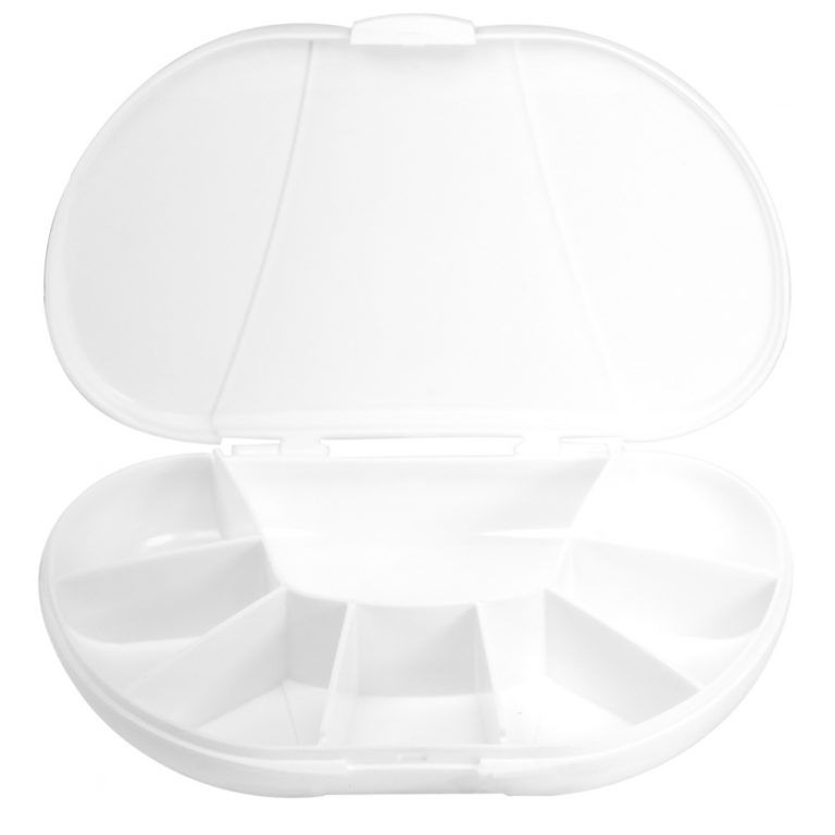 White Vita Carry Large Medication Case Opened and Filled Empty Front Facing Open and Empty