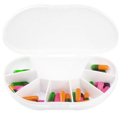 White Vita Carry Large Medication Case Opened and Filled Empty Front Facing Open and Filled with Pills
