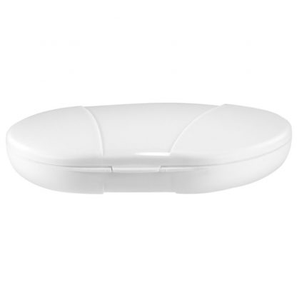 White Vita Carry Large Medication Case Opened and Filled Empty Front Facing Flat Closed