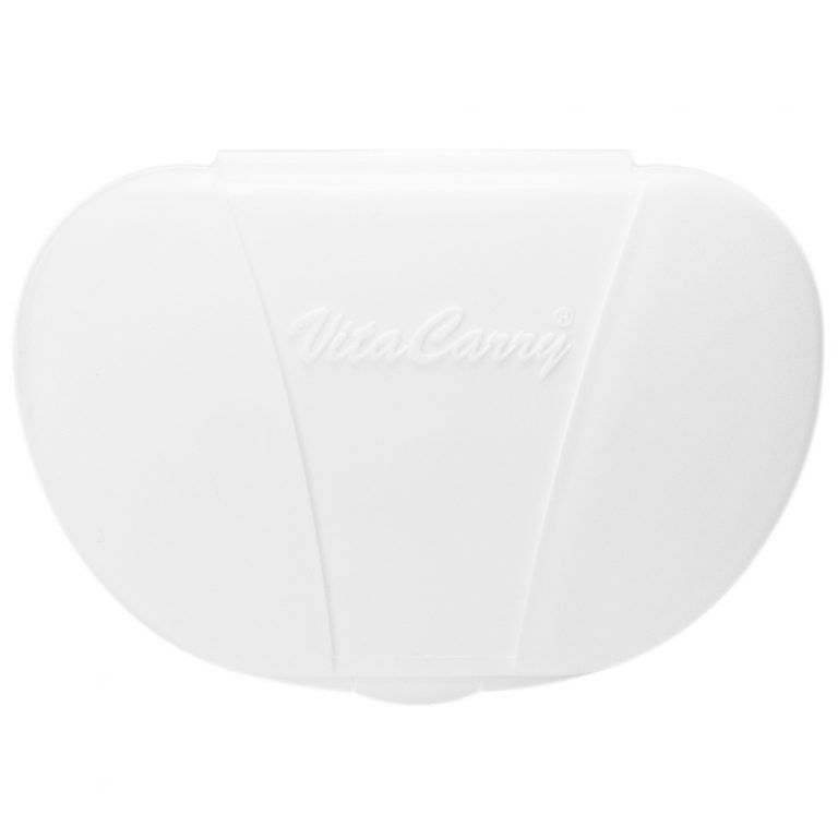 White Vita Carry Pocket Clamshell Case Closed front facing
