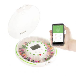 GMS Bluetooth Automatic Pill Dispenser with Open Clear Lid Filled with cellphone in hand
