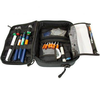 Grey ChillMED Premier Diabetic Travel Bag Open View Filled with Diabetic Supplies