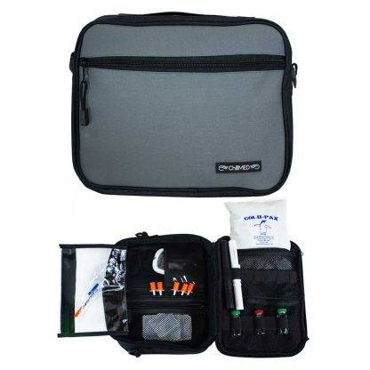 Grey ChillMED Premier Diabetic Travel Bag Front Facing and Exploded View
