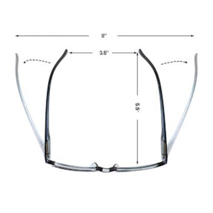 GMS Blue Light Blocking Glasses with Measurements: 8 inches fully extended and 3.5 inches in it's regular state by 5.5 inches long