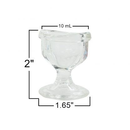 GMS Glass optical eye rinse cup side down view vision health sight refresh soothing eyes solution measurements