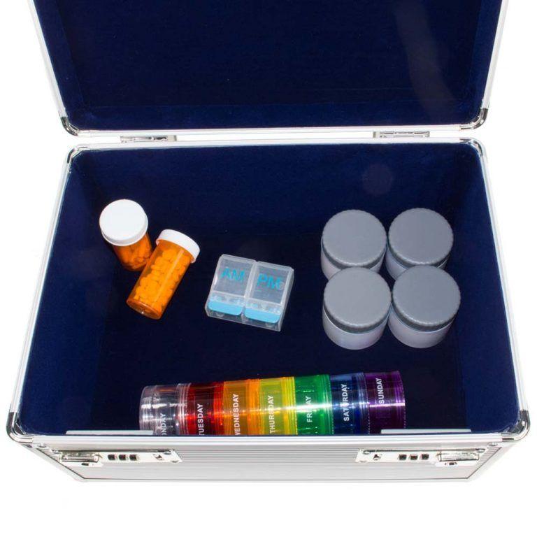 GMS Vitavault Medicine Lock Box open with medication inside