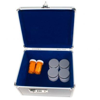 GMS Vitavault Medicine Lock Box open with medication inside