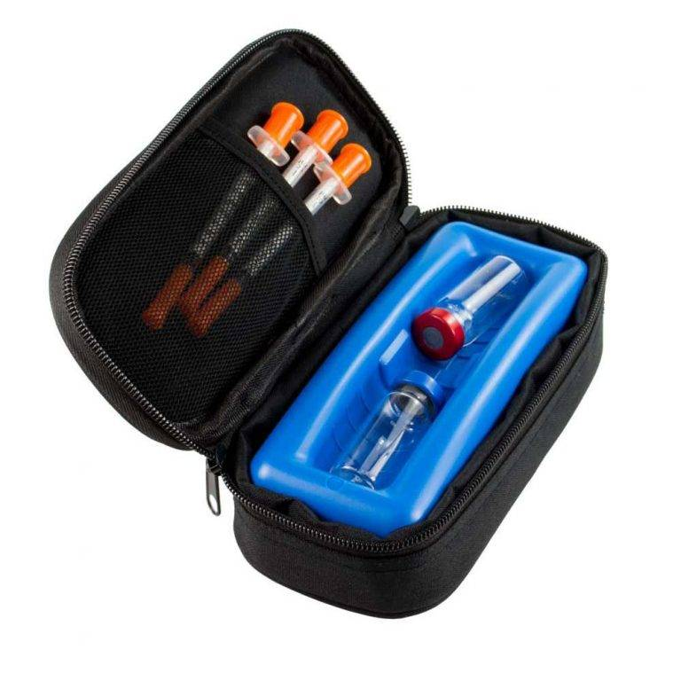 ChillMED Micro Cooler open with three syringes and insulin cases