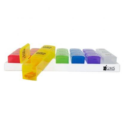 GMS 3x/Day Gasket Pill Organizer (Rainbow) Front View with the Yellow Case out In front