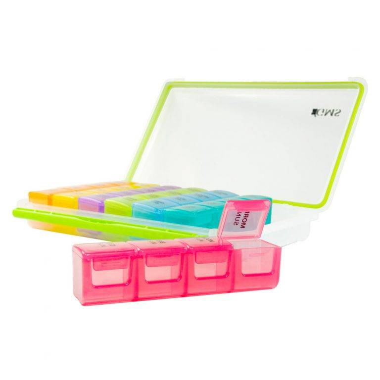 GMS 4x/Day Gasket Pill Organizer (Rainbow) Front View with the Red Case out