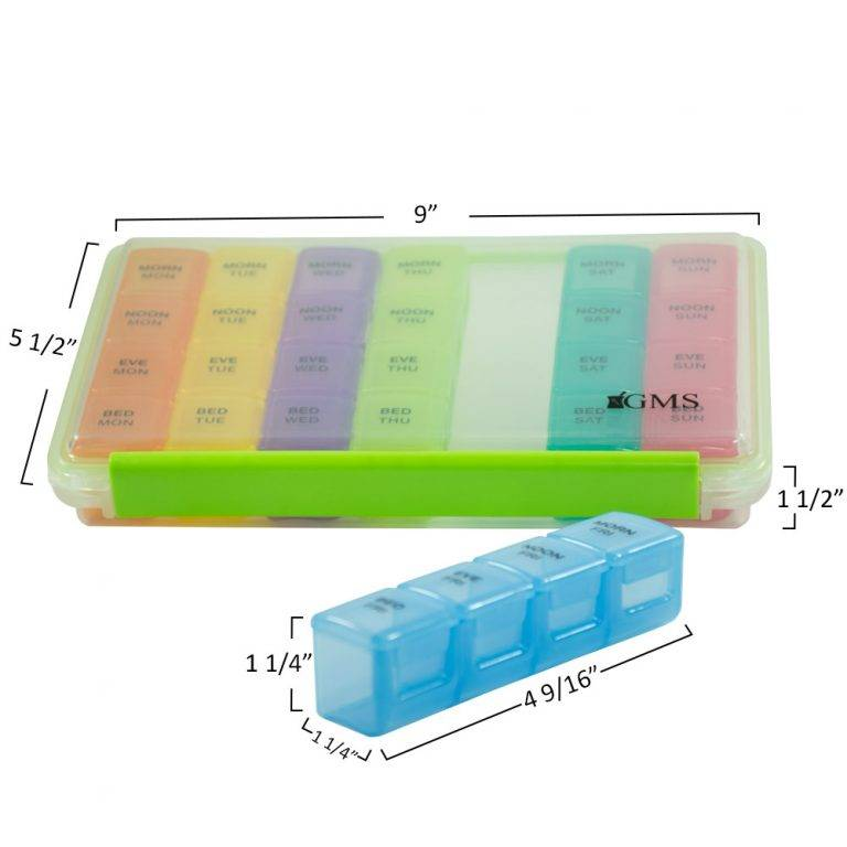 "GMS 4x/Day Gasket Pill Organizer (Rainbow) Front View with the Blue Case Out with Measurements: 5 1/2"" by 9"" by 1 1/2"" for the Whole 4 x Day package. The individual casing Measure at 1 1/4"" by 1 1/4"" by 4 9/16""."