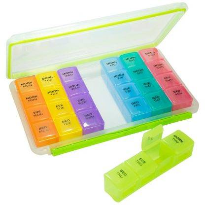 GMS 4x/Day Gasket Pill Organizer (Rainbow) Front View with the Green Case out