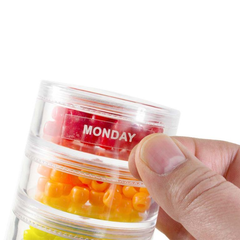 Days of the Week Labeled Separately Container Travel Tower Stackable