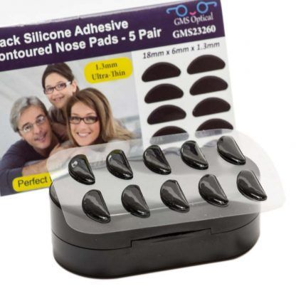 Contour Silicone Nose Pads - 1.3mm x 18mm Black Packaging, Case on Display