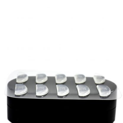 GMS Optical Contour Silicone Nose Pads 18mm x 2.5mm Clear on top of Case