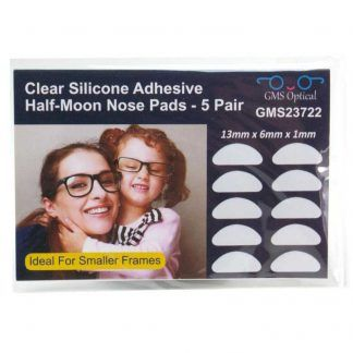 GMS Optical Adhesive Halfmoon Nose Pads (Clear) 13mm in packaging