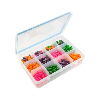 GMS 12 Compartment Pill and Vitamin Organizer Open Lid Top View with Pills