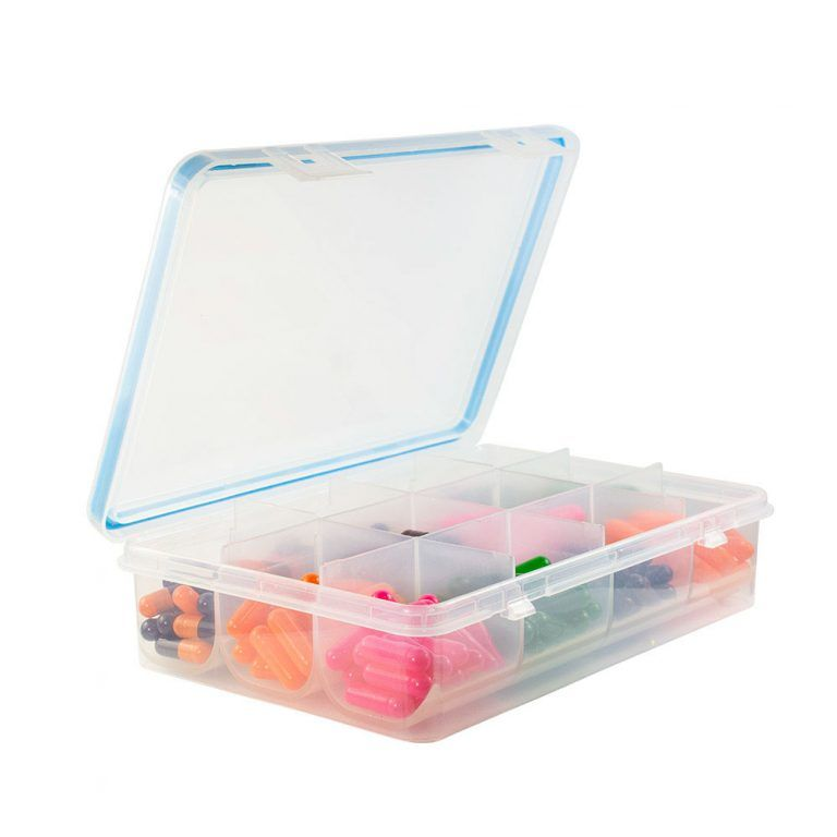 GMS 12 Compartment Pill and Vitamin Organizer Open Lid Side View with Pills
