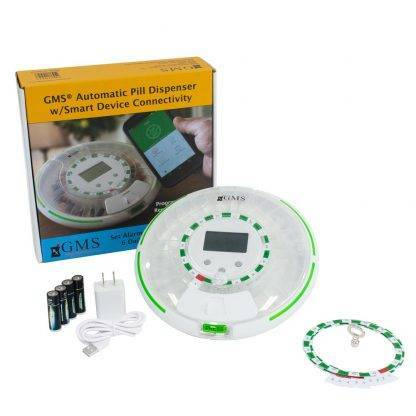 GMS bluetooth pill dispenser with product box, AC adapter and cord, reminder discs, and four AA batteries