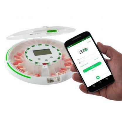 GMS Pill Wifi Automatic Pill dispenser with hand holding cellphone with Zayata App
