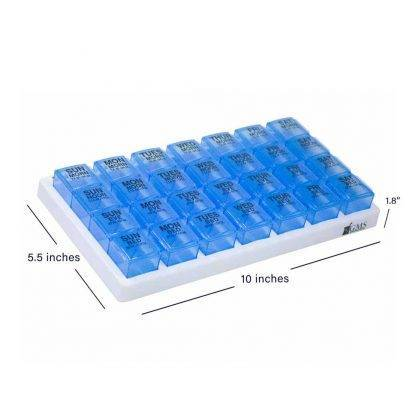 Blue GMS 4x/Day Gasket Pill Organizer Above View with Measurements: 5.6 Inches by 10 Inches