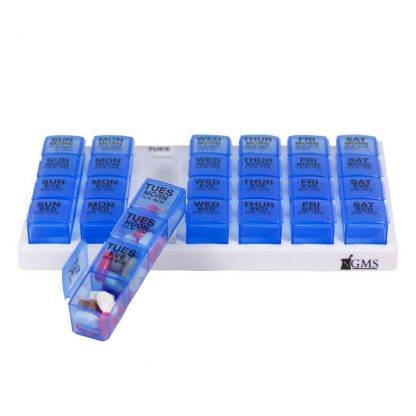 Blue GMS 4x/Day Gasket Pill Organizer Front View with one tray removed and filled