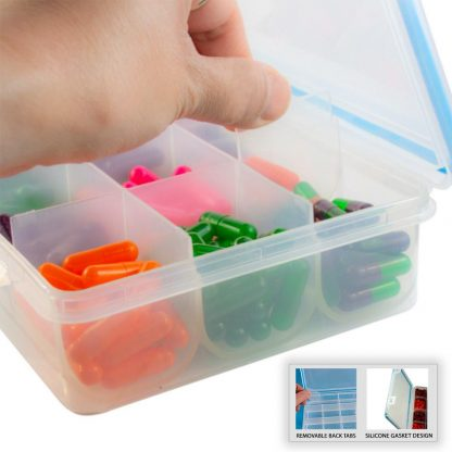 GMS 12 Compartment Pill and Vitamin Organizer Removable Back Tabs Side View with Pills